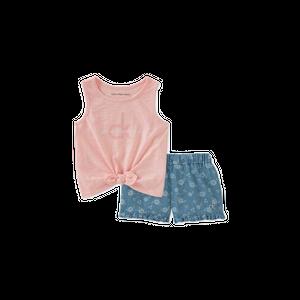 סט 2 חלקים קלווין קליין: סט גופיה ורודה ומכנס ג'ינס פרחוני