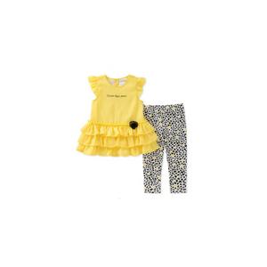 סט קלוין קליין 2 חלקים: טוניקה צהובה עם פרח וטייטס נקודות שחורות