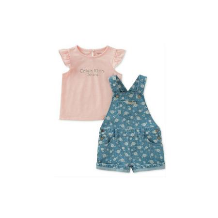 סט 2 חלקים: אוברול ג'ינס פרחים וחולצה ורודה קצרה