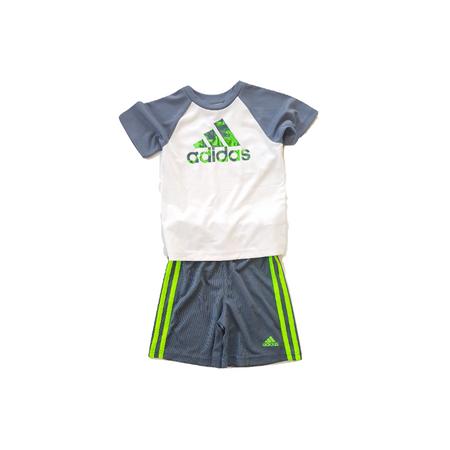ADIDAS סט 2 חלקים מכנס אפור פס ירוק וחולצה לבן אפור