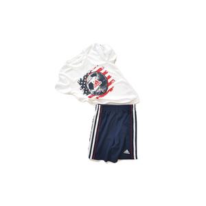ADIDAS סט 2 חלקים usa מכנס כחול כהה פס לבן וחולצה לבנה