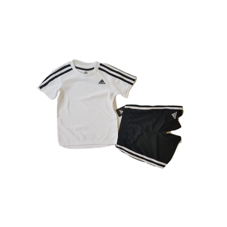 ADIDAS קלאסי סט 2 חלקים מכנס שחור חולצה לבנה