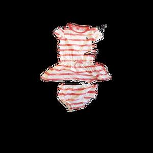 שמלת ראלף לורן עם פסים ורוד בהיר ולבן
