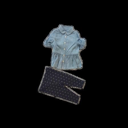 סט  ראלף לורן שמלת ג'ינס כחול בהיר וטייטס כחול עוגן