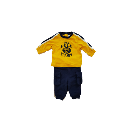 RALPH LAUREN סט מכנס ארוך כיסים וחולצה צהובה ארוכה