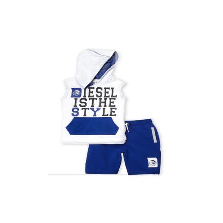 דיזל סט גופייה לבנה  עם מכנס ברמודה כחול