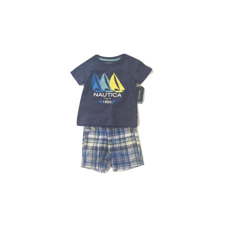 נאוטיקה סט  חולצה כחולה לוגו סירות ומכנס ברמודה משבצות