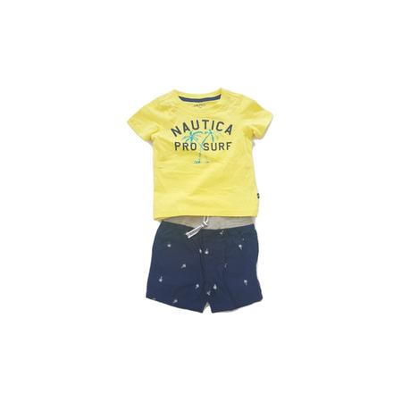 נאוטיקה סט חולצת טי שרט צהובה ומכנס ברמודה כחולה