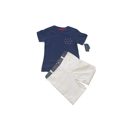 נאוטיקה סט חולצה כחולה כיס בצד וברמודה לבנה