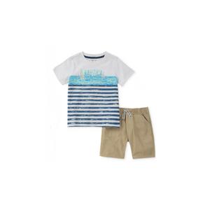 נאוטיקה סט חולצה לבנה פסים כחולים וברמודה חאקי
