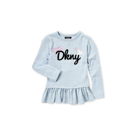 DKNY- חולצת טוניקת שמלה אפורה תכלת בהירה