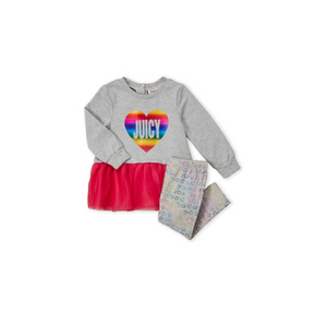 JUICY COUTURE- סט 2 חלקים חולצת טוניקה ומכנס דגם rianbow