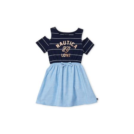 NAUTICA- שמלת נאוטיקה כתפיות פתוחות דגם mix media