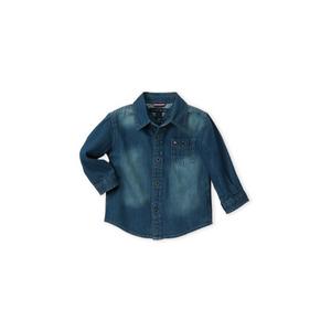 חולצה טומי מכופתרת ארוכה ג'ינס כחולה