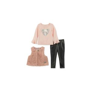 CALVIN KLEIN- סט 3 חלקים ווסט דגם faux fur pink
