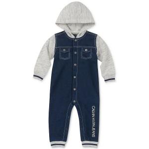 CALVIN KLEIN- חליפת גוף ג'ינס דגם hooded look