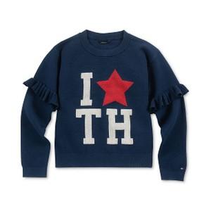 TOMMY HILFIGER- סוודר כחול דגם ruffle sweate