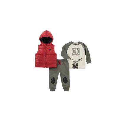 CALVIN KLEIN- סט 3 חלקים ווסט אדום דגם hooded m