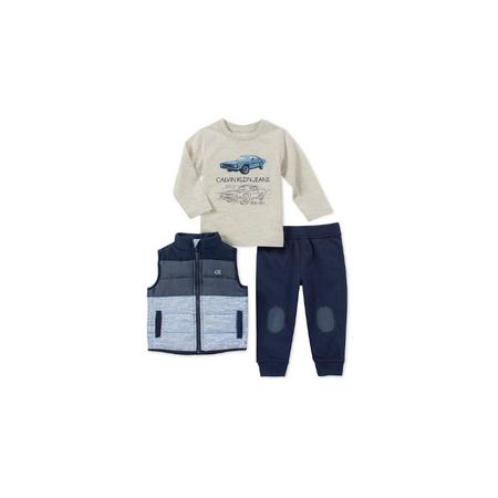 CALVIN KLEIN- סט 3 חלקים ווסט כחול דגם hooded c