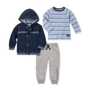CALVIN KLEIN- סט 3חלקים ג'קט ג'ינס דגם hooded jacket