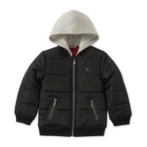 CALVIN KLEIN- מעיל קפוצ'ון שחור דגם layered look b