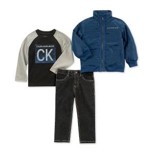 CALVIN KLEIN- סט 3 חלקים מעיל כחול טי שרט וג'ינס
