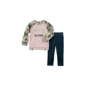 TOMMY HILFIGER- סט 2 חלקים חולצה ורודה וטייטס ג'ינס