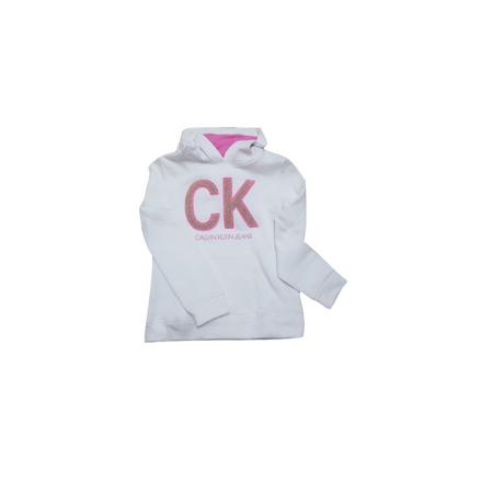 CALVIN KLEIN- חולצת קופוצ'ון לבנה עם לוגו CK ורוד