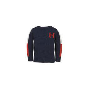 TOMMY HILFIGER- סוודר טומי כחול כהה לוגו H