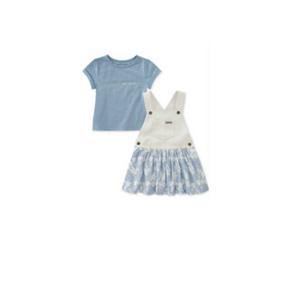 סט2 חלקים קלווין קליין: אברול שמלה לבנה עם כחול ופרחים עם חולצה תכלת