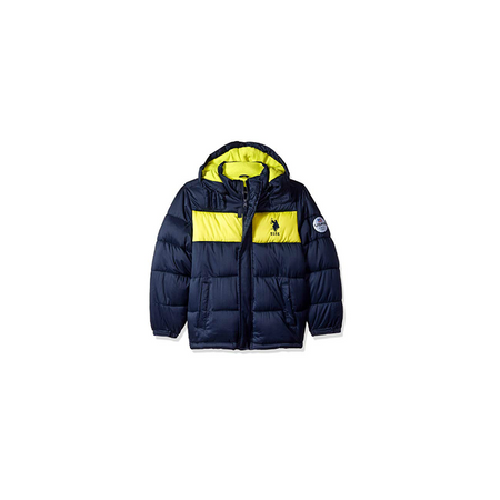 U.S POLO- מעיל מחמם במיוחד כחול צהוב זוהר עם קפוצ'ון