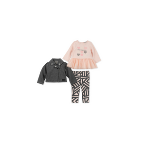CALVIN KLEIN- סט 3 חלקים חולצת שמלה טייטס וג'קט אפור