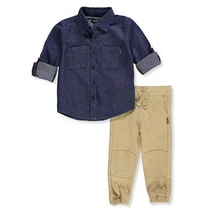 DKNY- סט 2 חלקים חולצת גי'נס מכופתרומכנס חאקי