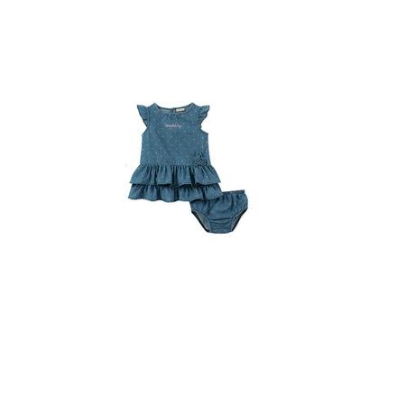 CALVIN KLEIN- שמלת בייבי CK כחול נקודות ורודות