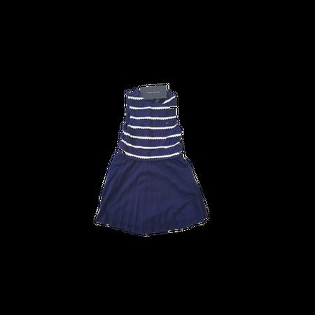 שמלת טומי הילפיגר כחול רויאל עם פסי תחרה לבנים