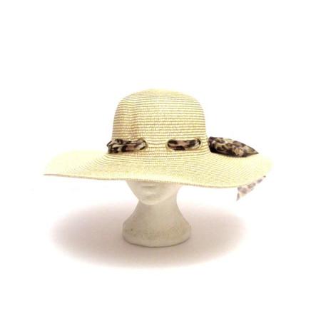 כובע רחב שוליים לאישה - דמוי קש
