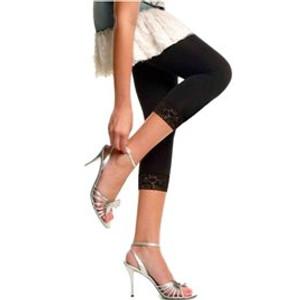 מכנס טייץ איכותי לאישה 100% כותנה מנדפת זיעה בשילוב תחרה