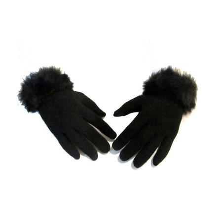 זוג כפפות טרמיות לנשים - שילוב פרווה מותאם למגע במסארטפון