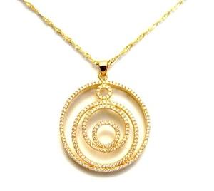 תליון 2 מיקרון זהב  CIRCLE OF LIFE +שרשרת איכותית