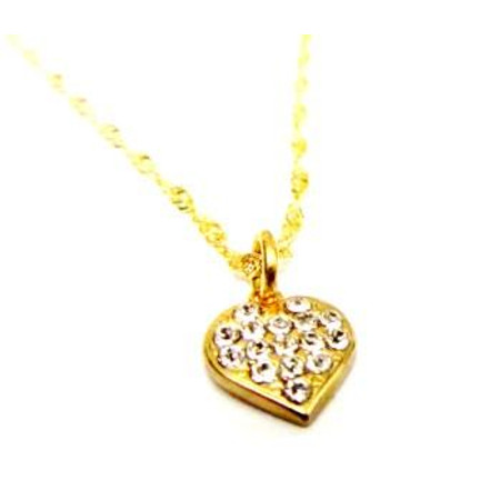 תליון לב איכותי מיקרון בשילוב זיקרונים במראה יהלומים +שרשרת איכותית 2 מיקרון זהב