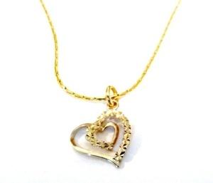תליון לב במראה מיוחד מיקרון זהב+ שרשרת איכותית מיקרון זהב