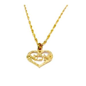 תליון לב אמא 2 מיקרון זהב +שרשרת איכותית מיקרון זהב