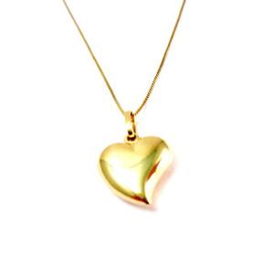תליון לב קטן במראה קלאסי +שרשרת מיקרון זהב
