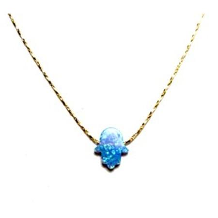 תליון חמסה אבן אופל + שרשרת מיקרון זהב