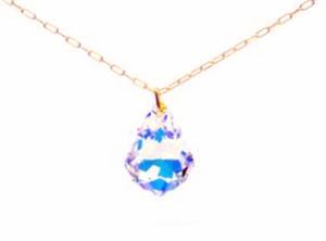 תליון אבן סברובסקי טופז כחול +שרשרת מיקרון זהב