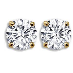 """זוג עגילי זירקון יהלום מגולדפילד 2 מ""""מ / 3 מ""""מ / 4 מ""""מ"""