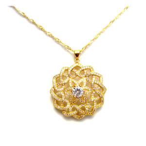 תליון מרשים בשילוב זירקונים +שרשרת מיקרון זהב