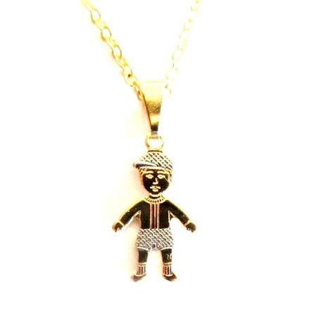 תליון ילד / ילדה 2 מיקרון זהב בשילוב כסף 925 +שרשרת מיקרון זהב