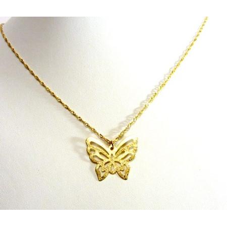 גולדפילד אופנתי בצורת פרפר + שרשת מיקרון זהב