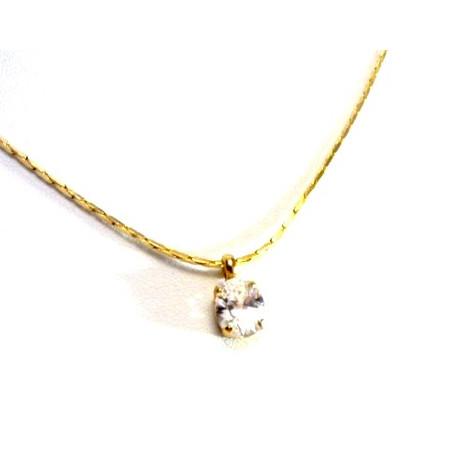 תליון זירקון אוולי מלוטש ונוצץ כיהלום +שרשרת מיקרון זהב איכותית
